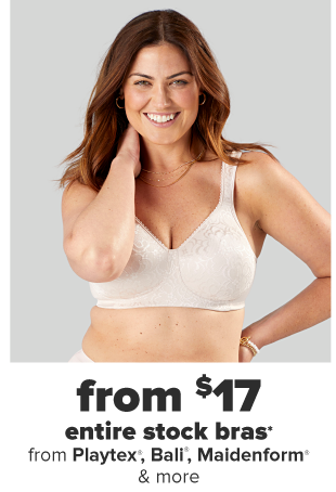 A woman in an off white full coverage bra. From $17 entire stock bras.