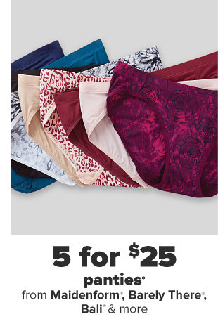 Nine pairs of panties in a variety of patterns and colors. 5 for $25 panties.