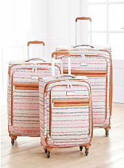 A three piece multi color patterned luggage set.