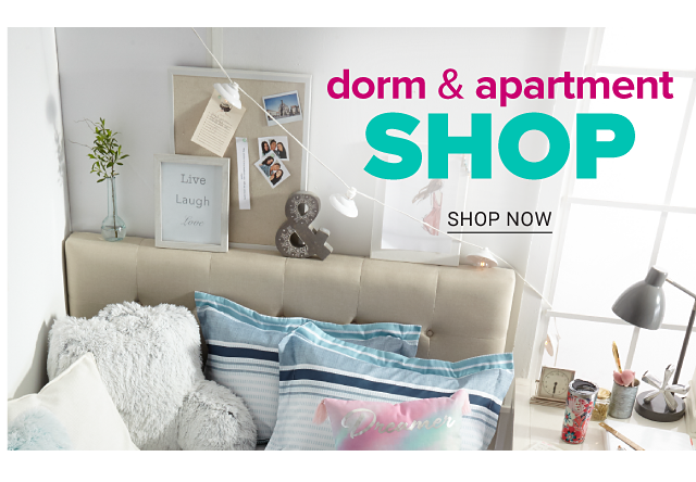 A bed with an assortment of throw pillows on it. Dorm & Apartment Shop. Shop now.