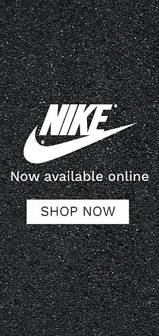 Nike logo. Nike swoosh logo. Now available online. Shop now