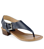 A black sandal with a silver buckle. Shop sandals.