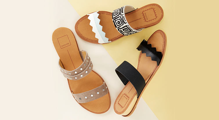 An assortment of Dolce Vita sandals in different colors and prints.