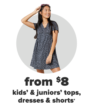 A young woman in a gray leopard spotted dress. From $8, kids' and juniors' tops, dresses and shorts.