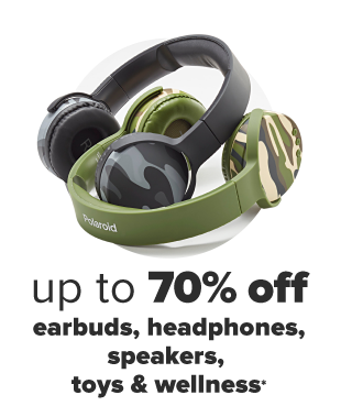 A blue table, blue headphones, a white speaker shaped like a rabbit and blue earbuds. Up to 70% off earbuds, headphones, speakers, toys and wellness.
