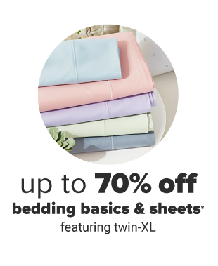 A stack of folded sheets in pastel blue, pink, purple, green and gray. Up to 70% off bedding basics and sheets. Featuring twin XL.