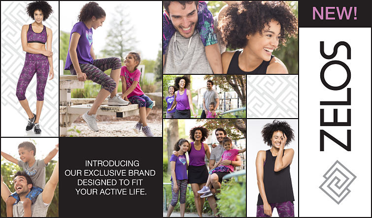 Various photos of a family spending time outdoors in ZELOS activewear.