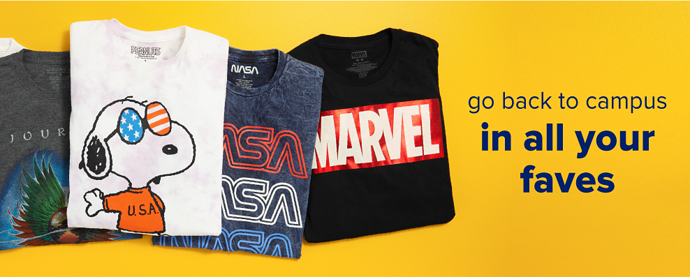 A Spongebob tee shirt, Journey tee shirt, Snoopy tee shirt, Nasa tee shirt and Marvel tee shirt. Go back to campus in all your faves.