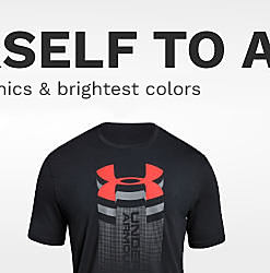 A black Under Armor graphic tee with a red UA signature logo. Shop logo tees.
