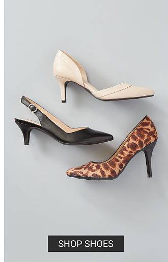 White, black and leopard print high heels. Shop shoes.