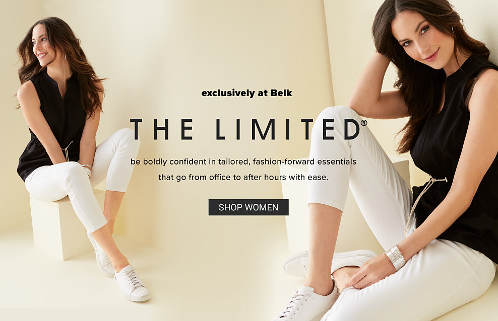 A woman wearing a blank sleeveless blouse, white pants and white sneakers. Exclusively at Belk. The Limited. Be boldly confident in tailored, fashion-forward essentials that go from office to after hours with ease. Shop women.