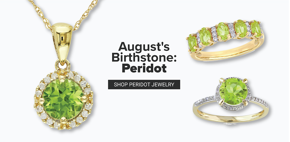 A gold pendant and two golden rings, all featuring the green peridot stone. August's birthstone is peridot. Shop peridot jewelry.