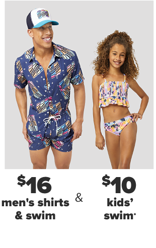 A man in a blue and white trucker hat and a navy retro patterened coordinating short sleeve shirt and short set. A little girl in a multicolored tankini top and bathing suit bottoms. $16 men's shirts and swim. $12 kids' tops and swim.