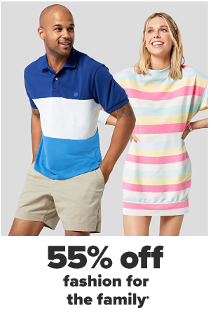 A man in a navy, white and light blue colorblocked polo shirt and khaki shorts. A woman in a pastel rainbow striped sweater dress. 55% off fashion for the family.