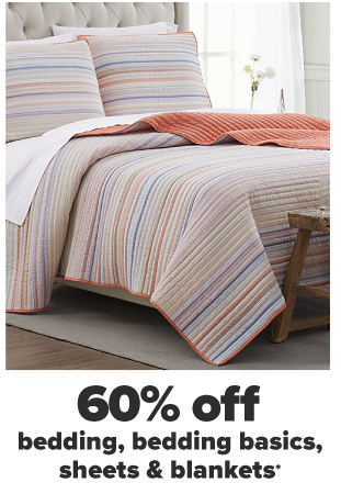 A warm toned striped matching pillow and bedding set. 60% off bedding, bedding basics, sheets and blankets.