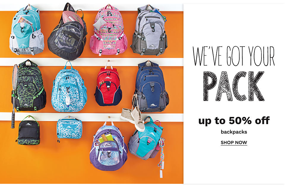 An assortment of backpacks.