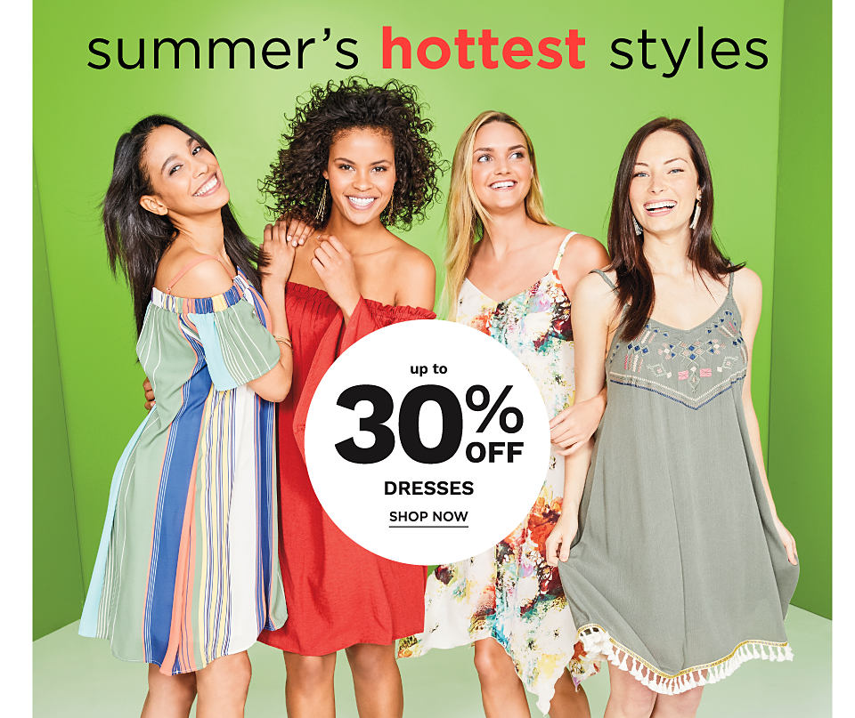 A woman wearing a multi colored vertical striped dress. A woman wearing a red dress. A woman wearing a floral print sun dress. A woman wearing an olive green sundress.
