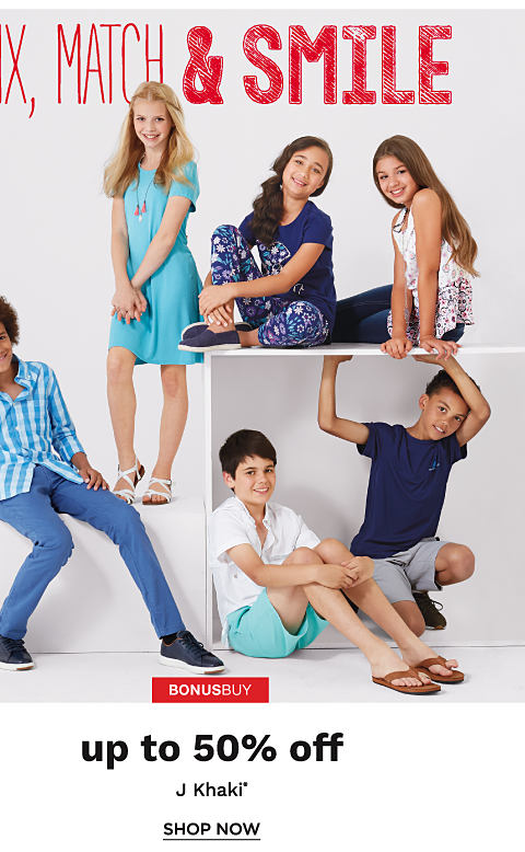 Three boys and three girls wearing various styles of J Khaki kids' apparel.