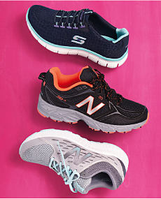 An assortment of New Balance and Skechers athletic shoes.