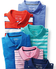 An assortment of men's polos in a variety of colors and prints.