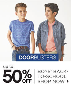 Doorbusters | Up to 50% off Boys' Back-To-School - Shop Now