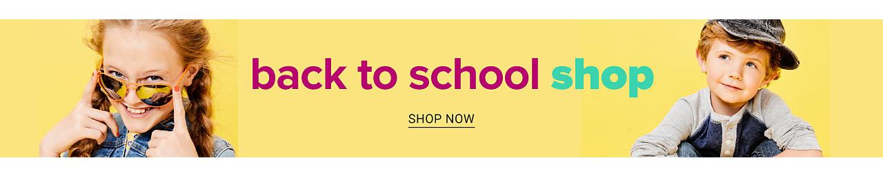 A girl wearing sunglasses & a denim jacket. A boy wearing a denim baseball cap & a gray & blue colorblock long sleeved shirt. Back to School Shop. Shop now.