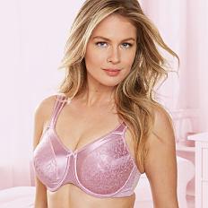 A woman wearing a pink bra. Shop bras