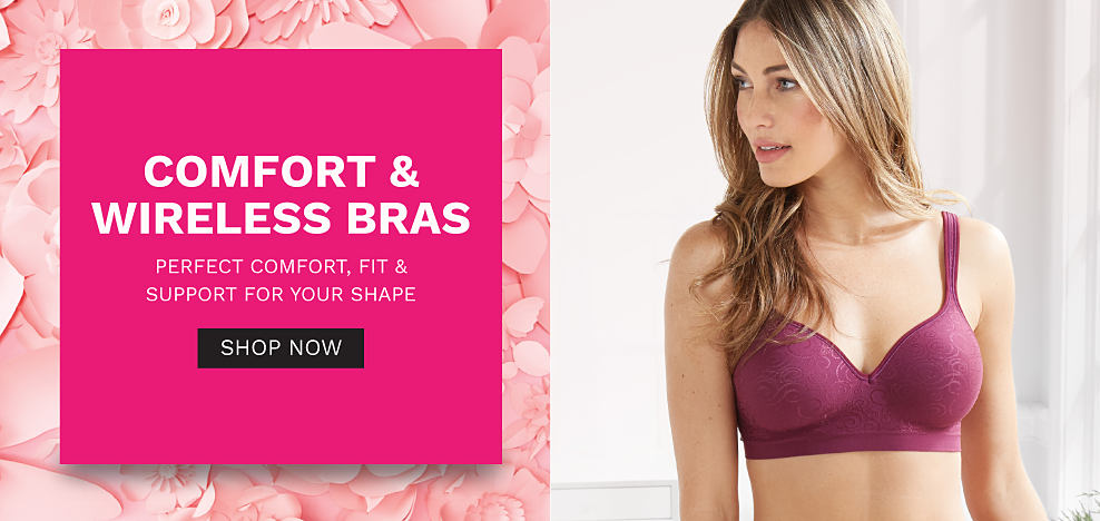 A woman wearing a burgundy bra. Comfort & Wireless Bras. Perfect comfort, fit & support for your shape. Shop now.
