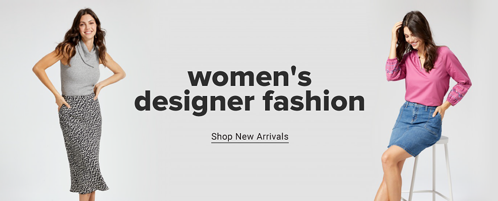 A woman in a dress featuring a gray sleeveless top and a leopard print bottom. A woman in a pink long sleeve top and blue skirt. Women's designer fashion. Shop new arrivals.