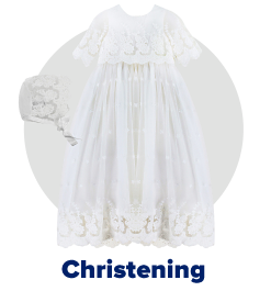 A white gown with a white bonnet. Christening.