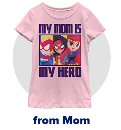 A pink short sleeve graphic tee with three super hero characters and the text my mom is my hero on the front. From mom.