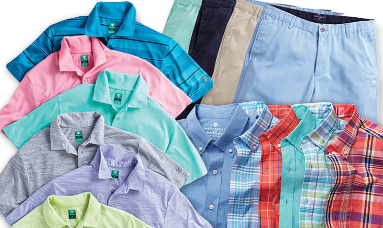 Men's summer shirts and shorts in a variety of bright prints and pastel colors.