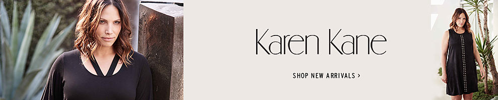 a woman wearing a black long sleeved dress. A woman wearing a black sleeveless dress with a white patterned print down the middle of the front. Karen Kane. Shop new arrivals.