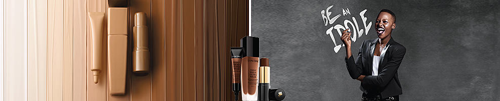 A variety of Lancome beauty products. A woman standing in front of a board that says Be an Idole. Lancome Paris. For those long days, Teint Idole Ultra is the full coverage foundation you need, with up to 24 hours of coverage and comfort to keep your complexion flawless every hour of the day. It absorbs excess oil, leaving behind a shine-free velvety matte natural look. Visit your local counter today for a free 10-day sample. Shop now.