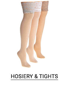 Three legs modeling different shades of panty hose. Shop hosiery and tights.