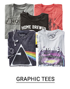 A variety of folded graphic tees. Shop graphic tees.