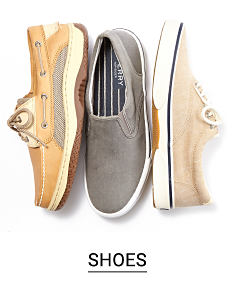 Three casual men's shoes in different styles. Shop shoes.