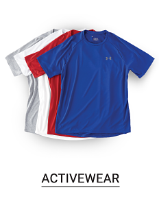 Gray, white, red and blue tees. Shop activewear.