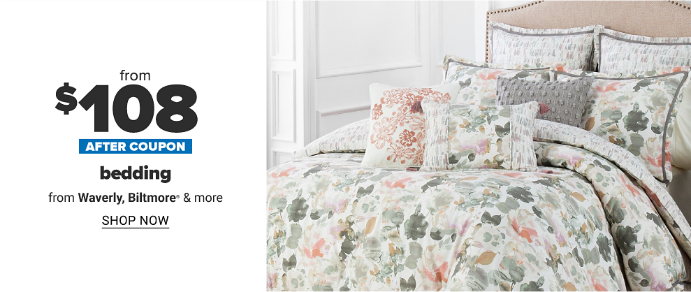 A floral bedset featuring red and green flowers against a white comforter, with matching pillows. Up to 50 percent off after coupon bedding from Waverly, Biltmore and more. Shop now.