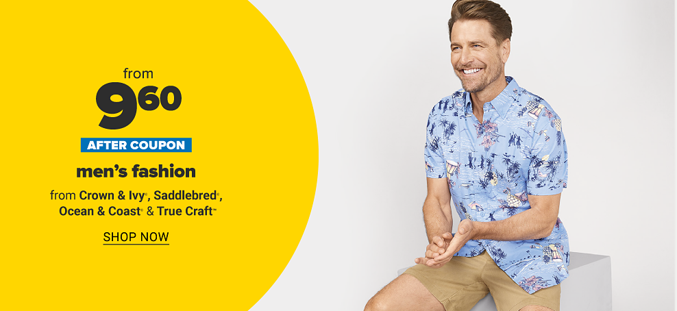 Man in a light blue tropical printed button up tee shirt with khaki shorts. From $12 after coupon men's fashion from Crown & Ivy, Saddlebred, Ocean & Coast and True Craft. Shop now.