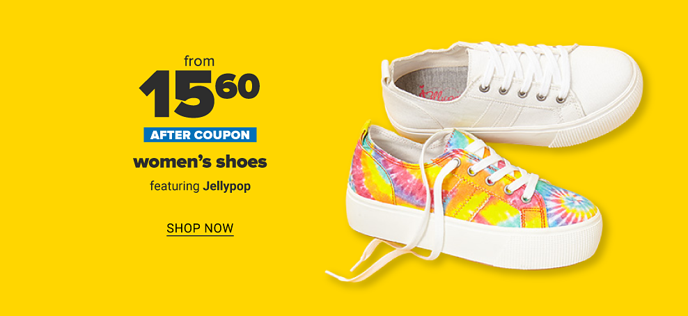 Two shoes from Jellypop. One is an all white canvas shoe, and the other is tie dyed with thick soles. From 19.50 after coupon women's shoes featuring Jellypop. Shop now.