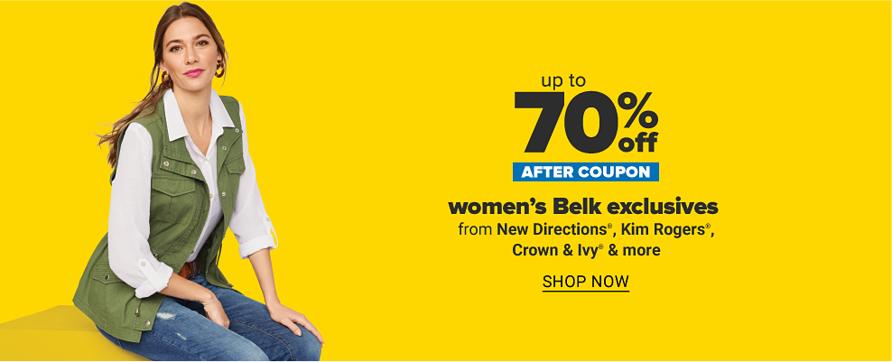 Woman in a white button up collared shirt with olive green vest and jeans. Up to 70% off after coupon women's Belk exclusives from New Directions, Kim Rogers, Crown & Ivy and more. Shop now.
