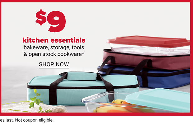 Casserole dishes in red, dark blue and light blue carrying cases. Nine dollar kitchen essentials. Bakeware, storage, tools and open stock cookware. Shop now.