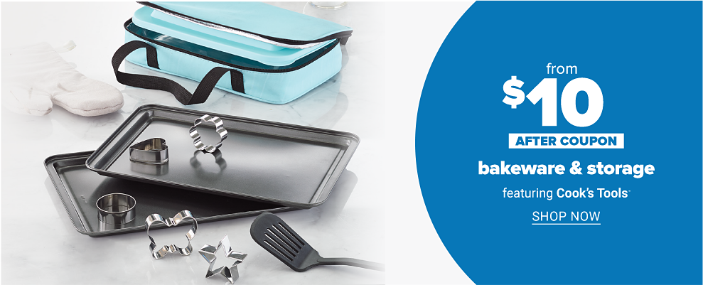 Assorted bakeware that includes a covered casserole set baking trays, cookie cutters and a spatula. Up to 50 percent off after coupon bakeware and storage featuring Cook's Tools. Shop now.