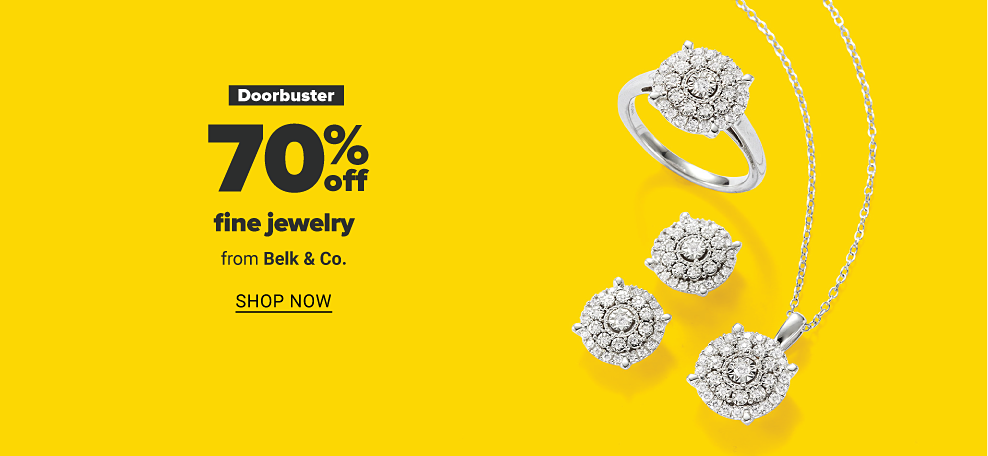 A diamond pendant, ring and pair of stud earrings against a yellow background. Doorbuster 70 percent off fine jewelry from Belk and Co. Shop now.