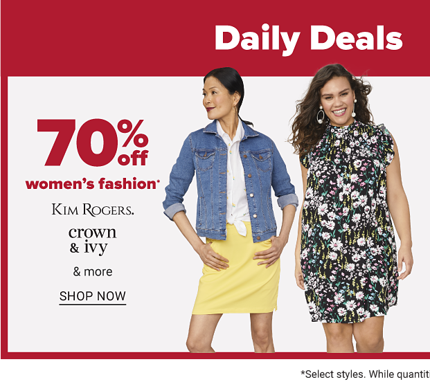 Two women: one in a white top, jean jacket and yellow skirt, the other in a black dress with a green, blue, pink and white floral pattern. 70 percent off women's fashion from Kim Rogers, Crown and Ivy and more. Shop now.