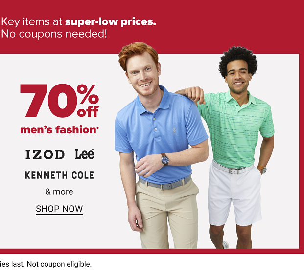 Two men: one wears a blue polo shirt with khaki pants, the other a green polo with blue stripes, and white shorts. 70 percent off men's fashion from IZOD, Lee and Kenneth Cole. Shop now.