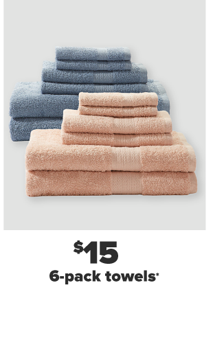 A stack of blue gray towels in various sizes. A stack of peach towels in various sizes. $15 6 pack towels.
