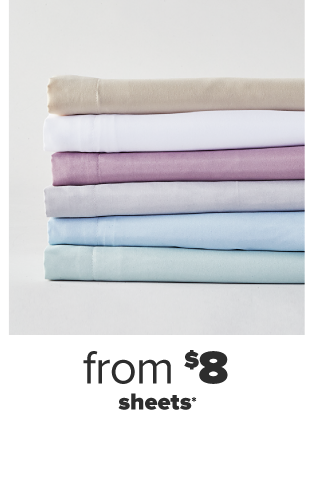 A stack of folded sheets in various colors. From $8 sheets.