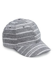 A striped fashion hat. Shop hats.